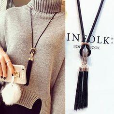 Tassel Long Winter Sweater Chain Necklace – Kenlyshop.com