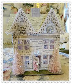 little cottage creation Christmas Town, Christmas Villages, Merry Little Christmas, Pink Christmas, Vintage Christmas, Christmas Crafts, Christmas Decorations, Christmas Greeting Cards, Christmas Greetings