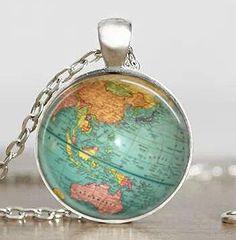 Vintage Movie Globe Star Wars Necklace Planet Earth World Map Art chain Steampunk 1pcs/lot silver brass mens Pendant jewelry usa - AWanderersDream