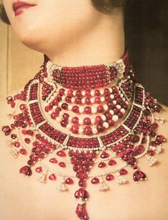 Ruby, pearl, and diamond necklaces created for a Maharani by Cartier, 1930.