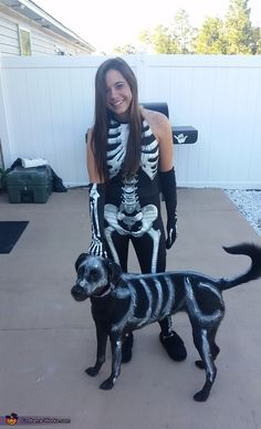 Blakely: This is my dog Marley and I both dressed as skeletons. She is a black lab, so I had the idea of painting her costume this year with non toxic...