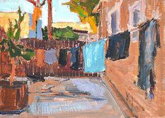 Laundry Painting by Kevin Inman ~ Oil ~ 5 x 7