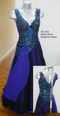301303 Ocean Blue-Black Ballroom dress	  DSI London