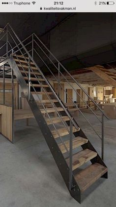 Dirk Cousaert - Furniture Design & Creation - Stair old oak and iron - Discover more at www. Loft Design, House Design, Pump House, Metal Stairs, Barn Renovation, Staircase Design, Stair Design, Open Trap, Metal Shop