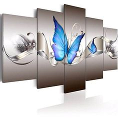 Modern Abstract Prints Blue Butterfly Canvas Wall Decor Framed Printed Painting Wall Art 5 Panels Wall Picture Home Decor Fashion Wall Artwork for Living Room Bedroom Dinning Room Ready to Hang Butterfly Wall Art, Butterfly Painting, Blue Butterfly, Canvas Wall Decor, Frame Wall Decor, Canvas Art, Abstract Canvas, Wall Decor Pictures, Art Pictures