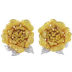 Fancy Natural Yellow Diamonds en Tremblant Rose Earclips | From a unique collection of vintage clip-on earrings at https://www.1stdibs.com/jewelry/earrings/clip-on-earrings/