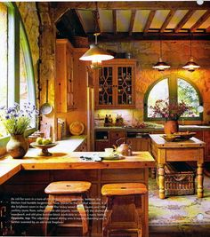 Kitchen in converted horse stable. I would like to copy this in a country home.