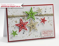 Splotch Design - Jacquii McLeay - Stampin Up - Simply Stars Christmas Card
