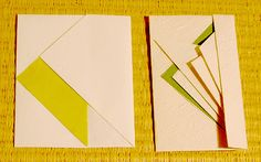 The envelope fold on the left is the simpler one developed at the Origata Design Institute, the one on the right is a more complex and traditional one. | via Pingmag