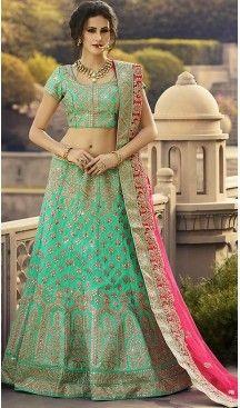 Greenish Blue Color Art Silk A Line Style Wedding Lehenga Choli | FH463972361