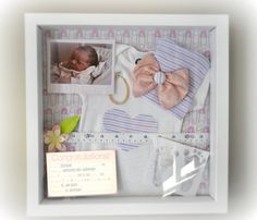 Baby shadow box, use measuring tape, baby announcement, ultrasound pic, foot print, new born pictures, baby weight, name, date and time.