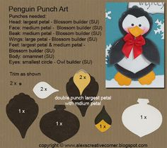 Alex's Creative Corner - Penguin Christmas punch art card instructionns