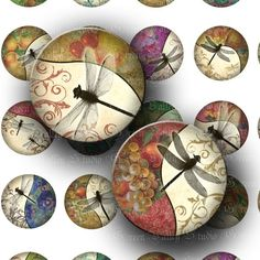 Floral Dragonflies Digital Images Collage Sheet Flowers Fruits Dragonfly Insects One Inch Circles for Pendants Magnets Scrapbooking (C106). $3.50, via Etsy.