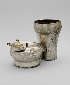 Double Vessel, Dog  Date:     14th–15th century Geography:     Peru Culture:     Chimú Medium:     Silver, gold | http://pinterest.com/spilimbergo/8-pre-columbian-jewelry/