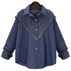 Graceful Fringe Spliced Long Sleeve Plus Size Shirt For Women #women, #men, #hats, #watches, #belts
