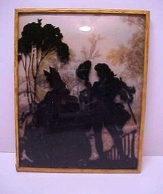 ONE VINTAGE REVERSE PAINTED VICTORIAN SILHOUETTES ON CURVED GLASS