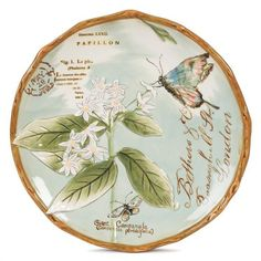 Fitz and Floyd Toulouse Salad Plate, Green ($12) ❤ liked on Polyvore featuring home, kitchen & dining, dinnerware, butterfly dinnerware, green stoneware dinnerware, bird dinnerware, green stoneware and floral salad plate