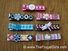 How To Make Hair Clips With Alligator Clips ~ diy photo tutorial ~ hair clips for babies ~ thefrugalgirls.com