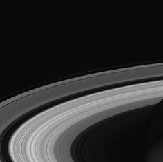 Black and white image of Saturn's rings.