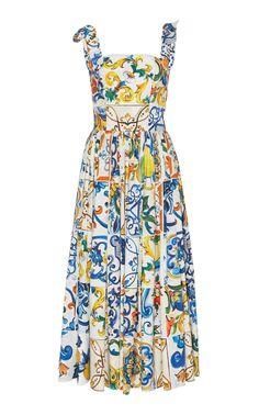 Maiolica Tie Strap Tank Midi Dress by Dolce & Gabbana