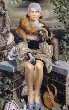 """Portret van mevrouw M. Blijstra-Van der Meulen (Portrait of Mrs M. Blijstra-Van der Meulen)"" a. ""Damesportret (Portrait of a Lady)"", 1928 by Carel Willink (Dutch / Princessehof Museum, Leeuwarden, The Netherlands Female Portrait, Portrait Art, Portrait Paintings, Op Art, Kandinsky, George Grosz, Art Deco, Magic Realism, Harlem Renaissance"