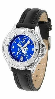 Duke Blue Devils Ladies Leather Wristwatch by SunTime. $78.95. Adjustable Band. Poly/Leather Band. Officially Licensed Duke Blue Devils Ladies Leather Wristwatch. Women. Water Resistant. Duke Blue Devils Ladies Leather Wristwatch with AnoChrome face. The Blue Devils wrist watch has functional rotating bezel color-coordinated with team logo. A durable, long-lasting combination nylon/leather strap, together with a date calendar make this the ultimate watch to have. ...