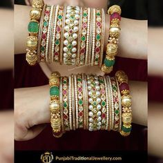 Image may contain: jewelry Bridal Bangles, Bridal Jewelry, Indian Wedding Jewelry, Indian Jewelry, Chuda Bangles, Thread Bangles Design, Gold Earrings Designs, Hand Jewelry, Bangle Set