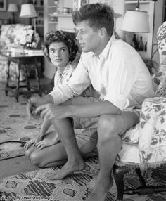 Senator John F. Kennedy and then fiancée Jacqueline Bouvier on vacation in Hyannis Port, MA, 1953.