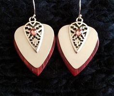 Mirrored Dark Wooden Southwest Guitar pick Earrings with crystals $25 - Purchase on our website!