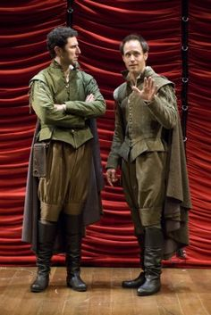 I like these costumes for Ros and Guil. I like the color scheme of brown and green but i want them to be inverted. One of them should have brown pants and a green doublet (like the man on the left.) The other should be the opposite. This plays with the idea that they are different but still similar enough to be confused with each other.