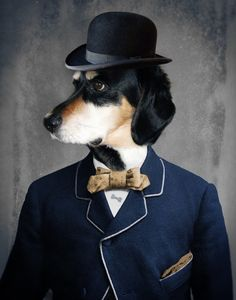 Dog Art Print Bowtie & Bowler Hat Dog by TheLonelyPixel on Etsy
