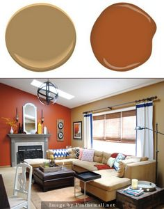 Benjamin Moore Mystic Gold. Glidden Crisp Autumn Leaves. Off of the kitchen and dining room is the family room. This space has higher ceilings, so I chose slightly darker hues with a burnt orange color as the fireplace accent wall.