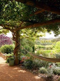 Feel the warm desert winds on your face. - Hammock under a pergola, in a mediterranean garden Amazing Gardens, Beautiful Gardens, Porches, Australian Native Garden, Mediterranean Garden, Exterior, Garden Features, Garden Styles, Dream Garden