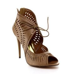 d756ad1fbbbd1e Liliana Liliana JENE-7 Women s Lace-up Cut-out Peep Toe High Heel
