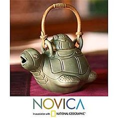 @Overstock - This delightful handmade ceramic teapot with rattan handle will provide a wonderful talking piece for your afternoon tea party. The mother and baby turtle design will add a unique touch to your kitchen. The teapot is dishwasher safe for easy cleaning.http://www.overstock.com/Worldstock-Fair-Trade/Ceramic-Turtle-Mom-Teapot-Indonesia/3067467/product.html?CID=214117 $33.99