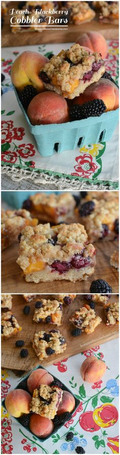 Peach Blackberry Cobbler Bars, a taste of summer in an easy dessert!   homeiswheretheboa... #summer #dessert