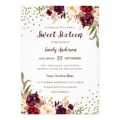 Floral Sparkle Burgundy Red Sweet Sixteen Invite - birthday diy gift present custom ideas
