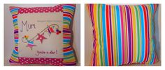 Stripey colourful cushion