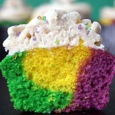 King Cake Cupcakes with a Cinnamon Cream Cheese Buttercream for Mardi Gras!