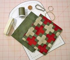 Necessities On The Go Mini Clutch in Simple Marks by Moda Fabrics