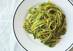 Ligurian Pesto with Spaghetti from Bon Appetit (http://punchfork.com/recipe/Ligurian-Pesto-with-Spaghetti-Bon-Appetit)