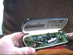 Tiny Trains Glasses Case Layout in 1:900 TY scale. A miniature model railroad inside a glasses case! A push-pull tab makes the train go back and forth.