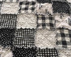 Items similar to Black and White Rag Quilt on Etsy Decoupage Jars, Rag Quilt Patterns, Shabby Chic Baby, Embroidery Hearts, White Rooms, Collage Sheet, Baby Quilts, Sewing Projects, Diy Projects
