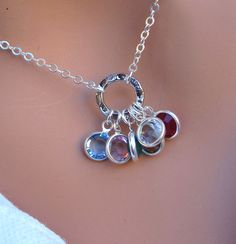 Family Birthstone necklace in STERLING SILVER by RoyalGoldGifts, $42.00