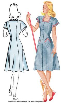 1940s House Dress Pattern by Decades of Style by DecadesPatterns