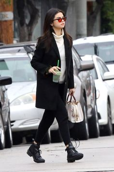 Smart casual with colored eyewear  - Selena Gomes street style