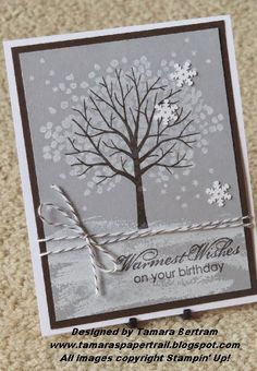 Winter birthday wishes with this snowy tree scene stamped from the Sheltering Tree set. Early Espresso and Smoky Slate panels help the white snowflakes stand out. Making Greeting Cards, Greeting Cards Handmade, Holiday Cards, Christmas Cards, Handmade Birthday Cards, Happy Birthday Cards, Birthday Wishes, Stampin Up Weihnachten, Winter Birthday