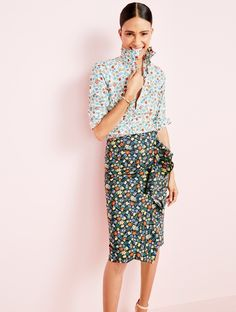 J.Crew Looks We Love: women's perfect shirt in Liberty® Edenham floral, ruffle skirt in Liberty® Edenham floral, bouquet drop earrings and leather ankle-strap sandals. Floral patterned shirt. Pencil skirt. Patterned button down.