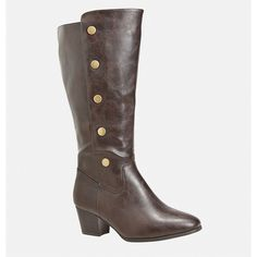 Avenue Lissa Snap Side Heeled Boot ($26) ❤ liked on Polyvore featuring shoes, boots, brown, plus size, tall brown boots, tall boots, brown boots, wide width boots and mid heel boots