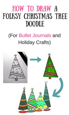 How to draw a cute, Christmas tree doodle for your bullet journal, planner or holiday crafts. Folk art style Christmas tree. Easy step-by-step art tutorial.